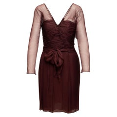 Oscar de la Renta Burgundy Sheer Sleeve Dress