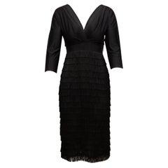 Alberta Ferretti Black Fringe Dress