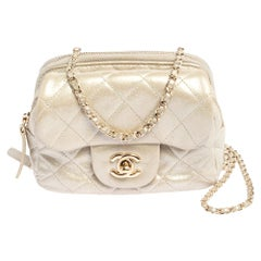 Chanel Grey Iridescent Quilted Leather CC Flap Wallet on Chain