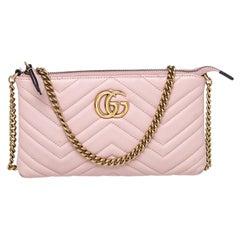 Gucci Pink Matelasse Leather Mini GG Marmont Shoulder Bag