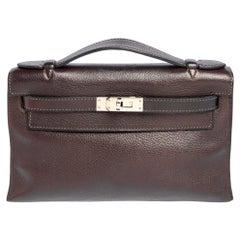 Hermès Havane Evergrain Leather Palladium Hardware Kelly Pochette