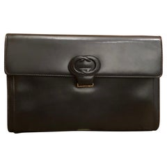 1980s GUCCI Black Two Way Leather Clutch Shoulder Bag