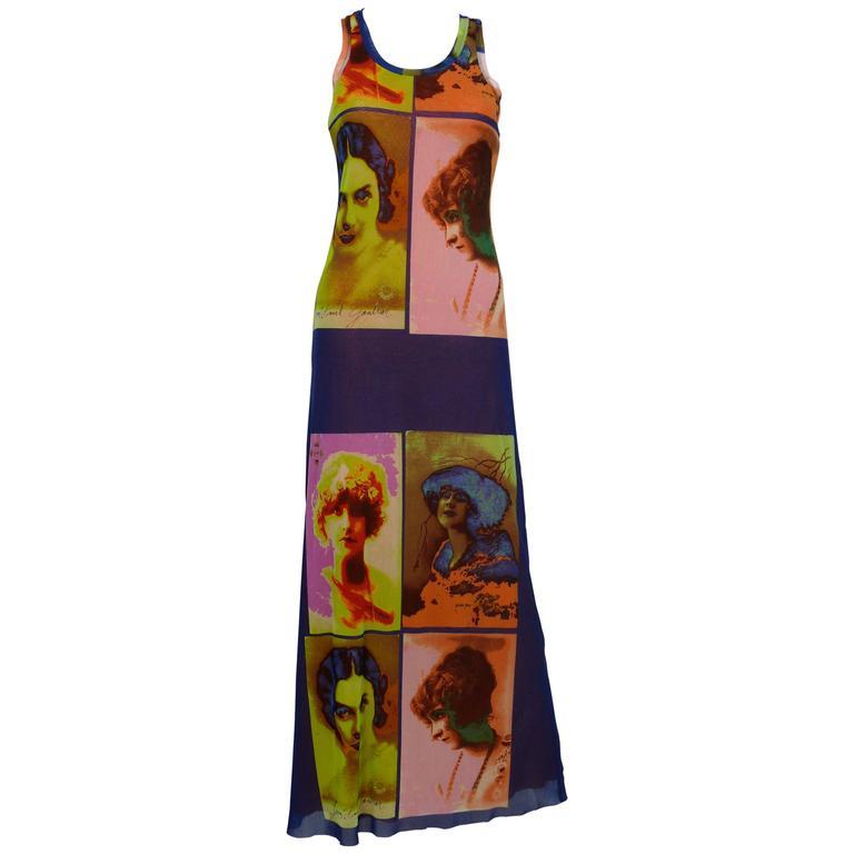 Jean Paul Gaultier Vintage Portrait Photo Print Fuzzi Mesh Portrait Maxi Dress