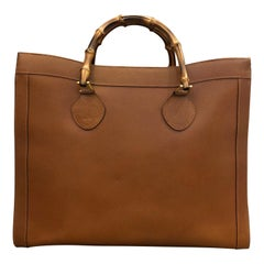 1990s GUCCI Brown Leather Bamboo Tote Princess Diana (Large)