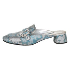 Prada  Brocade Fabric And Leather Crystal Buckle Mules Sandals Size 39