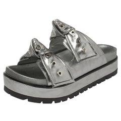 Alexander McQueen Metallic Grey Birkenstock Rivet Bow Tie Slide Sandals Size 37