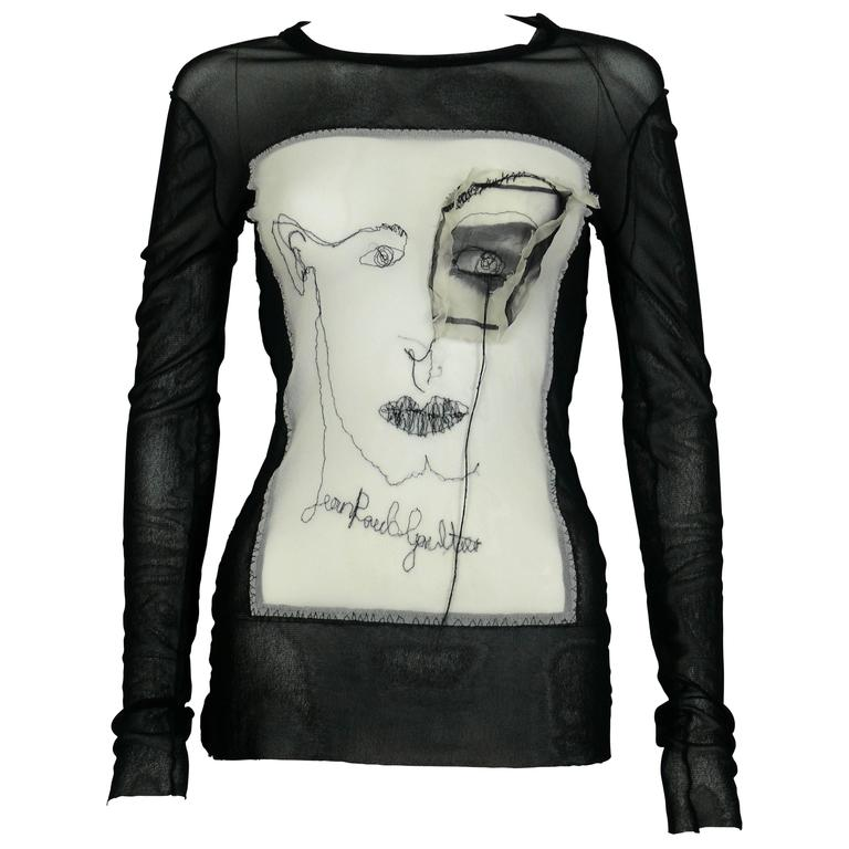 Jean Paul Gaultier Vintage Embroidered Portrait and Eye Applique Mesh Top M For Sale