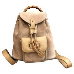 1990s GUCCI Beige Suede Mini Bamboo Backpack Bag