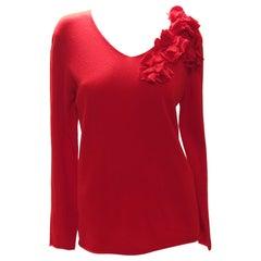 Comme Des Garçons Red Flower Sweater
