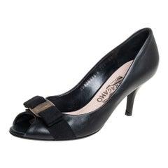 Salvatore Ferragamo Black Leather Pola Vara Bow Peep Toe Pumps Size 37