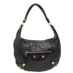 Balenciaga Black Leather Giant 21 Gold Hobo