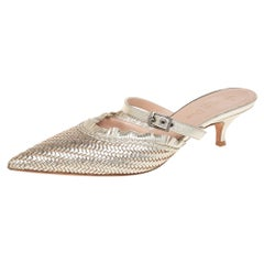 Dior Metallic Gold Woven Leather Teddy-D Mules Size 38