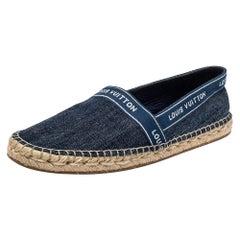 Louis Vuitton Blue Denim Espadrille Flats Size 37.5