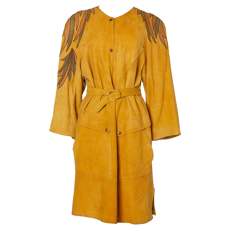 80's suede dress with suede appliqué Claude Montana pour Ideal Cuir