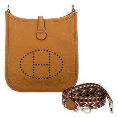 New Hermes Mini Evelyne Sesame Clemence Crossbody Bag in Box