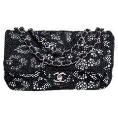 Chanel Black Crystal Embellished Tweed Jumbo Classic Single Flap Bag