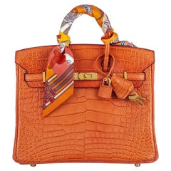 Hermès Birkin Touch 25cm Orange Poppy Alligator Mississippiensis GHW