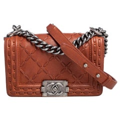 Chanel Brown Quilted Leather Small Stitch Boy Flap Bag