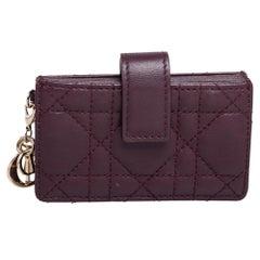 Dior Burgundy Cannage Leather Gusset Card Holder
