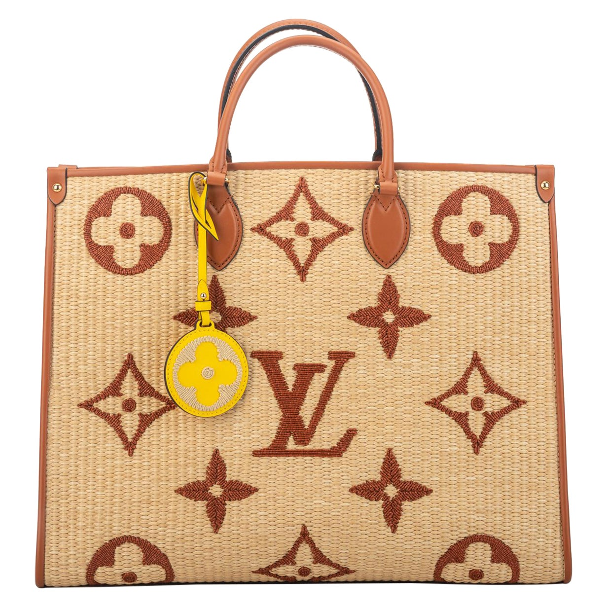 New Louis Vuitton Raffia Limited.Edition On The Go Bag with Box