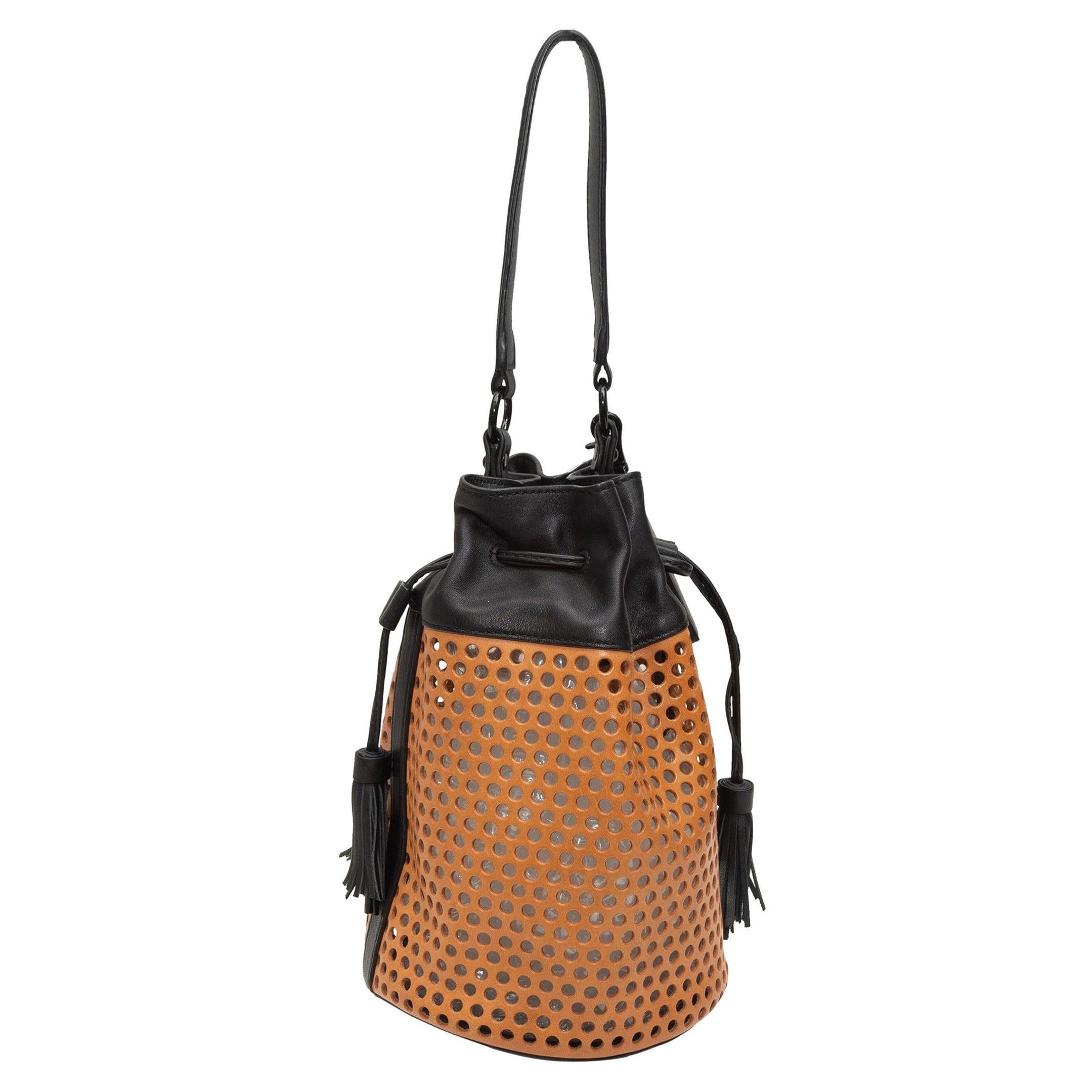 Loeffler Randall Tan & Black Perforated Leather Bucket Bag