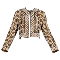 Vintage Metallic Beaded Silk Geometric Jacket