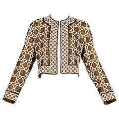 Vintage Metallic Beaded Silk Geometric Jacket