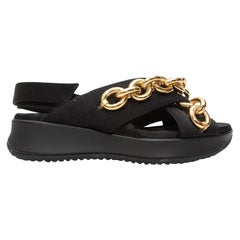 Burberry Black Nylon & Chain-Link Platform Sandals