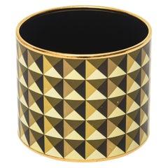 Hermes Wide Cuff Geometric Sculptural Black, Yellow, Gold Enameled Bracelet