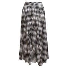 Cappellini Navy & Multicolor Gingham Maxi Skirt