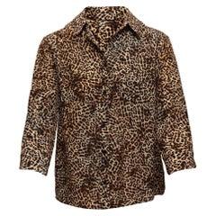 Anine Bing Tan & Black Silk Leopard Print Top