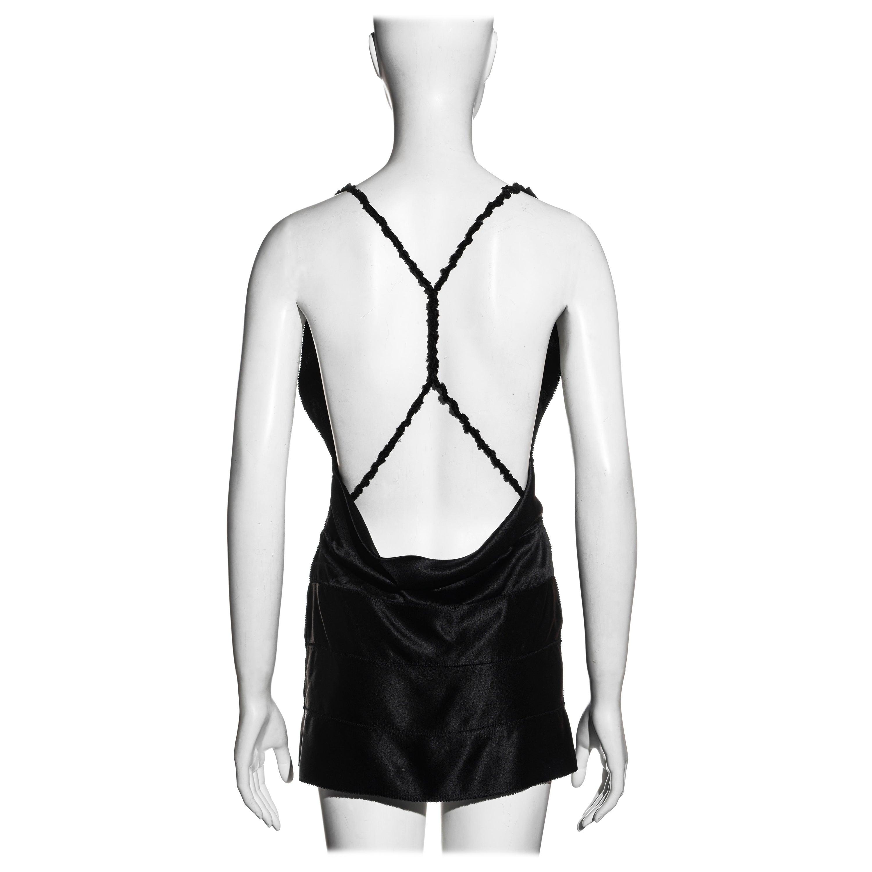 Gucci by Tom Ford black silk ribbon plunge neck mini dress, fw 2002