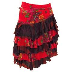 Jean Paul Gaultier Floral Tiered Skirt