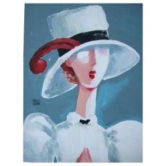 Michaele Vollbracht Rare Stylized Woman Oil Painting c 1980s w 30 x 35.75