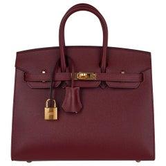 Hermes Birkin 25 Bag Sellier Rouge H Gold Hardware Veau Madame Leather New w/Box