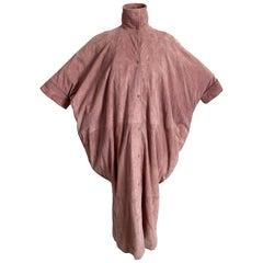 Vintage Fendi Duster Jacket Rose Pink Suede Batwing Sleeves Size S