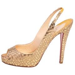 Christian Louboutin Gold Crepe Mosaic Satin No Prive Slingback Sandals Size 40