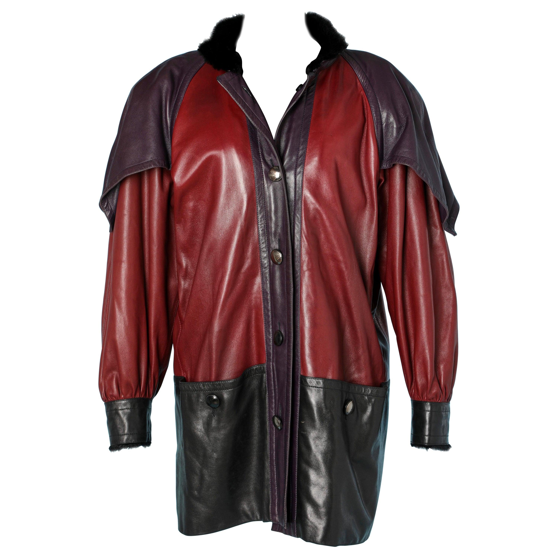 Bicolore shearling jacket Yves Saint Laurent Fourrures