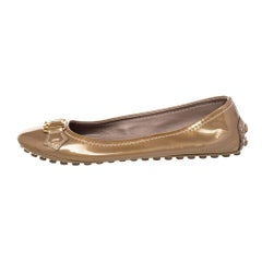 Louis Vuitton Gold Patent Leather Oxford Ballet Flats Size 36