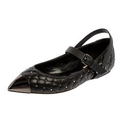 Valentino Black Quilted Rockstud Metal Cap Toe Ballerina Flat Sandals Size 38