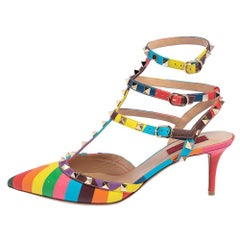 Valentino Multicolor Leather Rockstud 1973 Ankle Strap Sandals Size 40.5