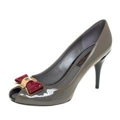 Louis Vuitton Grey/Burgundy Patent Leather Lou Peep Toe Pumps Size 36