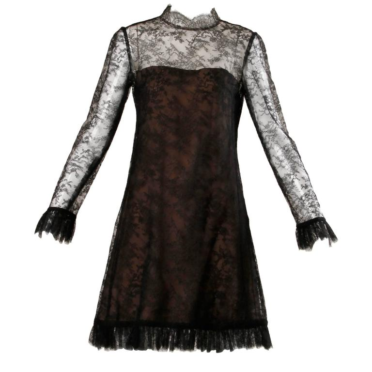 1960s Vintage Brown + Black Nude Illusion Chantilly Lace Cocktail Dress For Sale