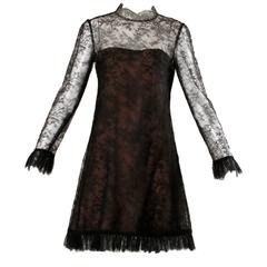 1960s Vintage Brown + Black Nude Illusion Chantilly Lace Cocktail Dress