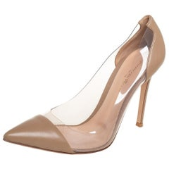Gianvitto Rossi Beige PVC And Leather Plexi Pumps Size 39
