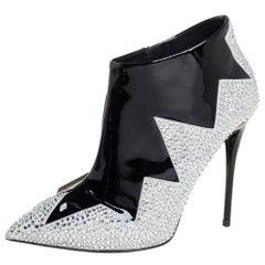 Giuseppe Zanotti Black Suede Crystal Zig Zag Patterned Booties Size 36.5