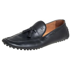Louis Vuitton Grey Leather Imola Tassel Slip On Loafers Size 42.5