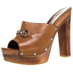Gucci Brown Leather Horsebit Peep Toe Clogs Size 41