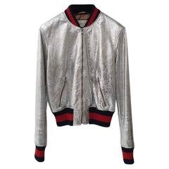 Gucci Silver Metallic Bomber Jacket