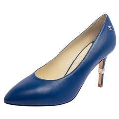 Chanel Blue Leather Interlocking CC Logo Pumps Size 39.5